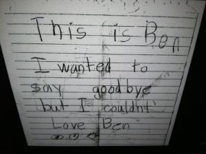 Ben's Last Note...